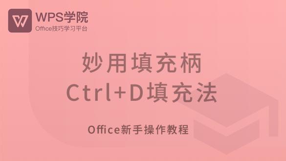 妙用填充柄 / Ctrl+D填充法